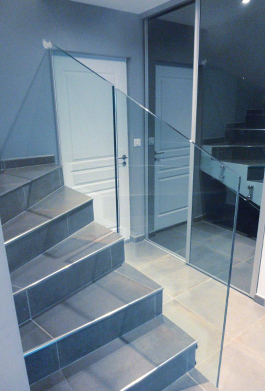 garde corps escalier aix les bains - vitrerie savoyarde